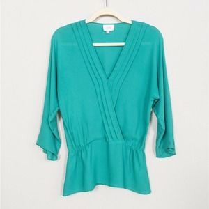 PARKER Green Pleated Cinched Waist Silk Blouse M